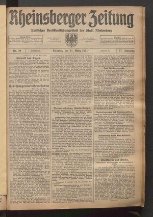 Rheinsberger Zeitung vom 31.03.1931