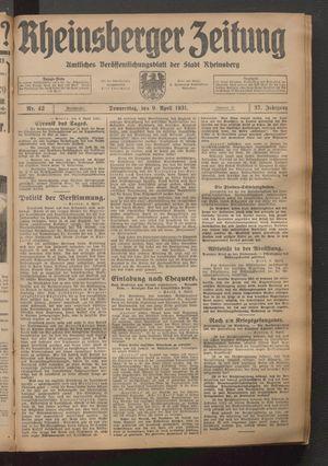 Rheinsberger Zeitung vom 09.04.1931