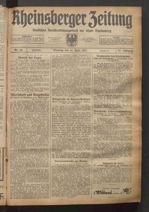Rheinsberger Zeitung vom 14.04.1931