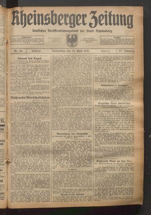 Rheinsberger Zeitung vom 16.04.1931