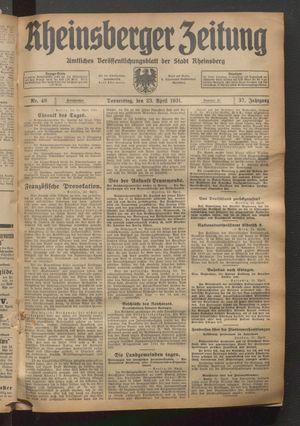 Rheinsberger Zeitung vom 23.04.1931