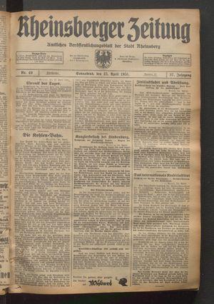 Rheinsberger Zeitung vom 25.04.1931