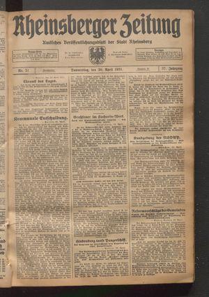 Rheinsberger Zeitung vom 30.04.1931