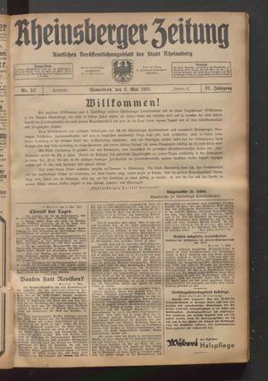 Rheinsberger Zeitung vom 02.05.1931