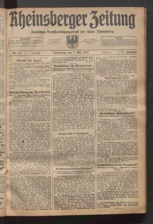 Rheinsberger Zeitung vom 07.05.1931