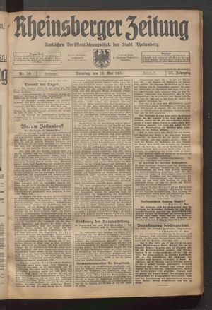 Rheinsberger Zeitung vom 12.05.1931