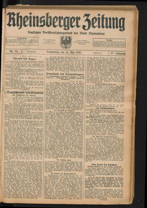 Rheinsberger Zeitung vom 21.05.1931
