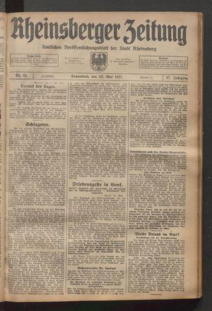 Rheinsberger Zeitung vom 23.05.1931