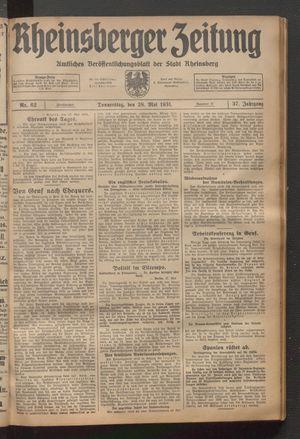 Rheinsberger Zeitung vom 28.05.1931