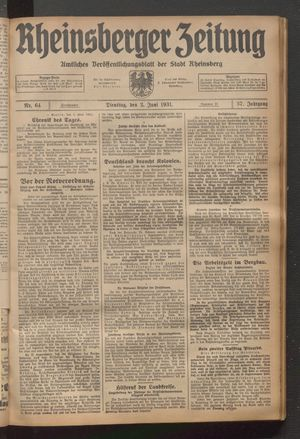 Rheinsberger Zeitung vom 02.06.1931