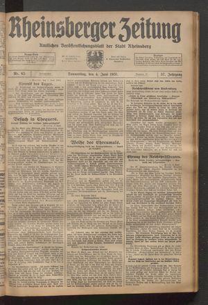 Rheinsberger Zeitung vom 04.06.1931