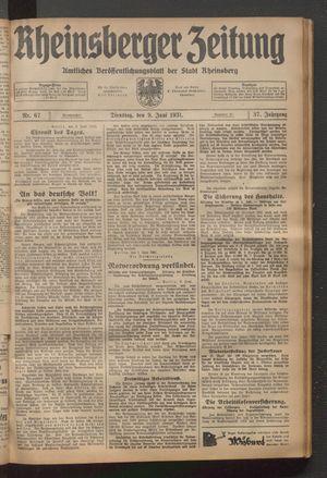 Rheinsberger Zeitung vom 09.06.1931