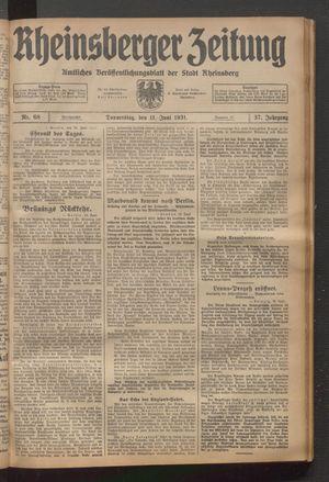 Rheinsberger Zeitung on Jun 11, 1931