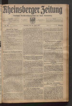 Rheinsberger Zeitung vom 16.06.1931