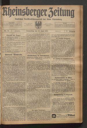 Rheinsberger Zeitung vom 18.06.1931