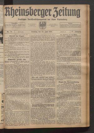 Rheinsberger Zeitung vom 23.06.1931
