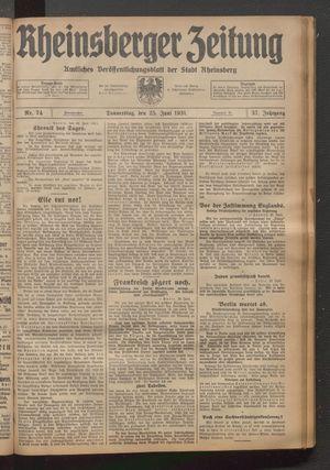 Rheinsberger Zeitung vom 25.06.1931