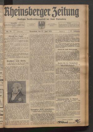 Rheinsberger Zeitung vom 27.06.1931