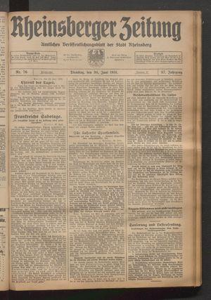 Rheinsberger Zeitung vom 30.06.1931