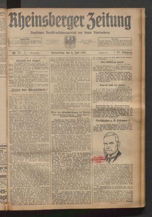 Rheinsberger Zeitung vom 02.07.1931