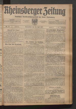 Rheinsberger Zeitung vom 11.07.1931