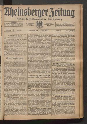 Rheinsberger Zeitung vom 14.07.1931
