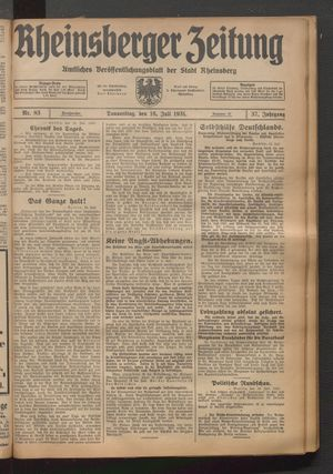 Rheinsberger Zeitung vom 16.07.1931