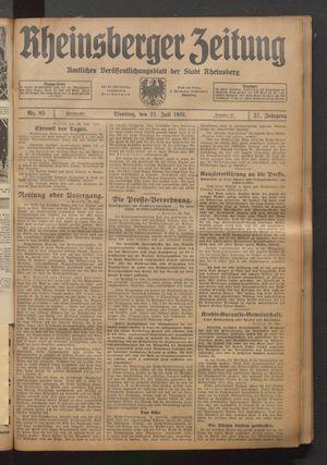 Rheinsberger Zeitung vom 21.07.1931