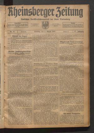 Rheinsberger Zeitung vom 04.08.1931