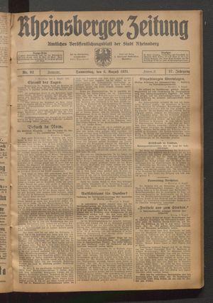 Rheinsberger Zeitung vom 06.08.1931