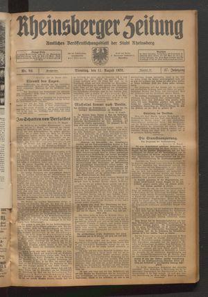 Rheinsberger Zeitung on Aug 11, 1931