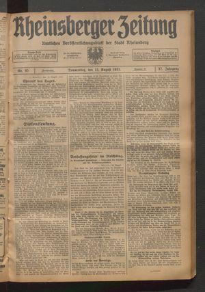 Rheinsberger Zeitung vom 13.08.1931