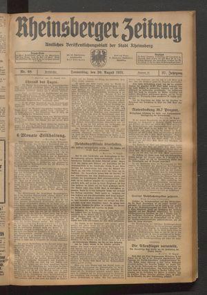 Rheinsberger Zeitung vom 20.08.1931