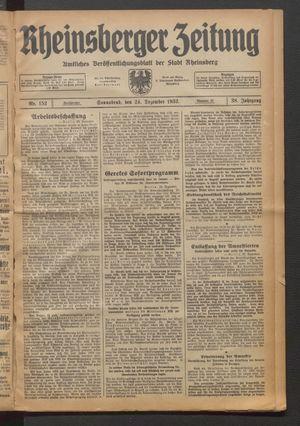 Rheinsberger Zeitung vom 24.12.1932