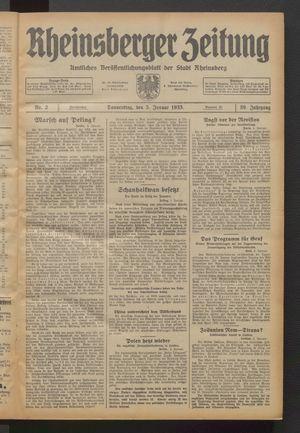 Rheinsberger Zeitung vom 05.01.1933