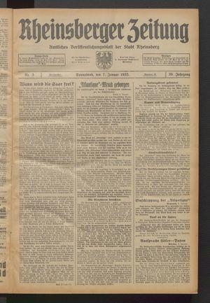 Rheinsberger Zeitung vom 07.01.1933