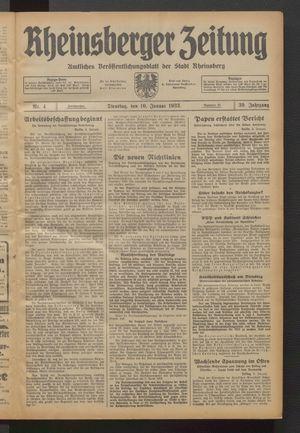 Rheinsberger Zeitung vom 10.01.1933