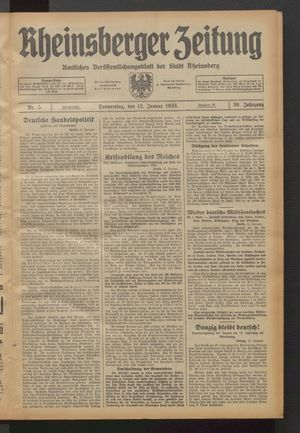 Rheinsberger Zeitung vom 12.01.1933