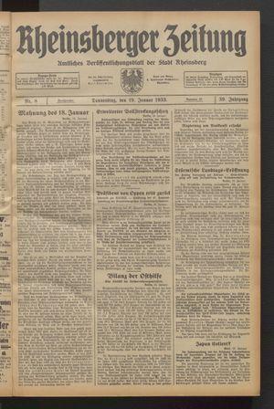 Rheinsberger Zeitung vom 19.01.1933
