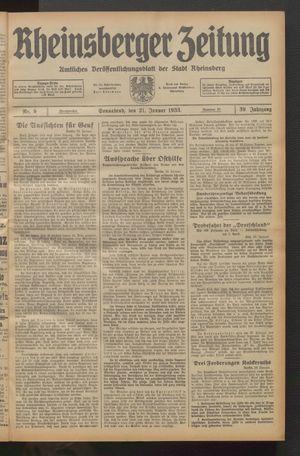 Rheinsberger Zeitung vom 21.01.1933