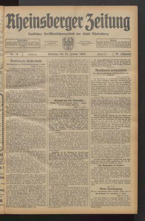 Rheinsberger Zeitung vom 24.01.1933