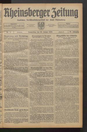 Rheinsberger Zeitung vom 26.01.1933