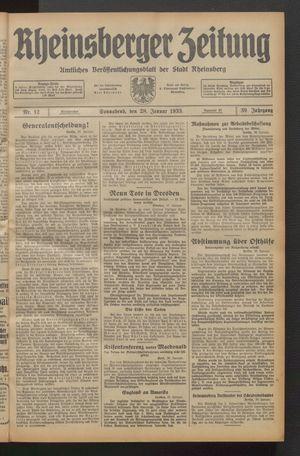 Rheinsberger Zeitung on Jan 28, 1933