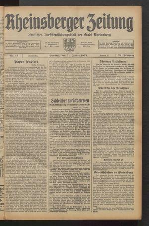 Rheinsberger Zeitung vom 31.01.1933