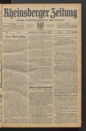 Rheinsberger Zeitung vom 02.02.1933