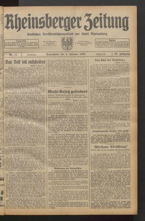 Rheinsberger Zeitung vom 04.02.1933