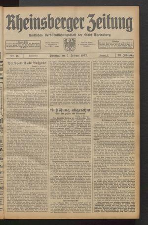 Rheinsberger Zeitung on Feb 7, 1933