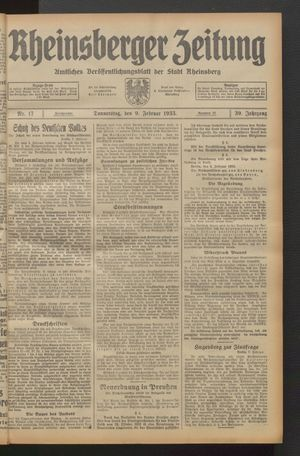 Rheinsberger Zeitung on Feb 9, 1933
