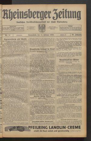 Rheinsberger Zeitung vom 11.02.1933