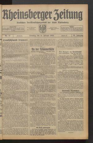 Rheinsberger Zeitung vom 14.02.1933